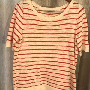 LOFT sweater top - Striped (White/Red Orange)